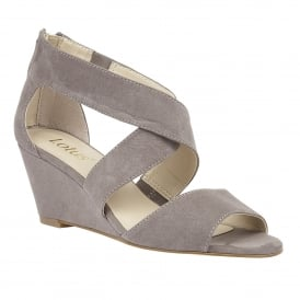 Chenney Grey Microfibre Wedge Sandals