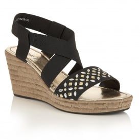 Chiara Black Elastic Wedge Sandals