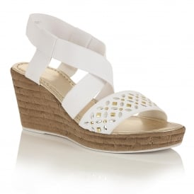 Chiara White Elastic Wedge Sandals