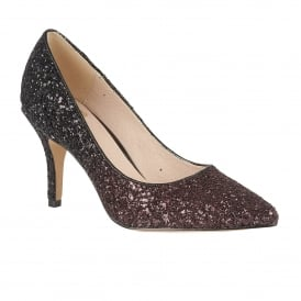 Chrysanta Bordeaux Glitter Court Shoes