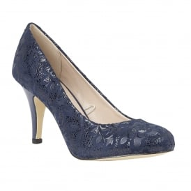 Clancy Navy Floral Print Court Shoes