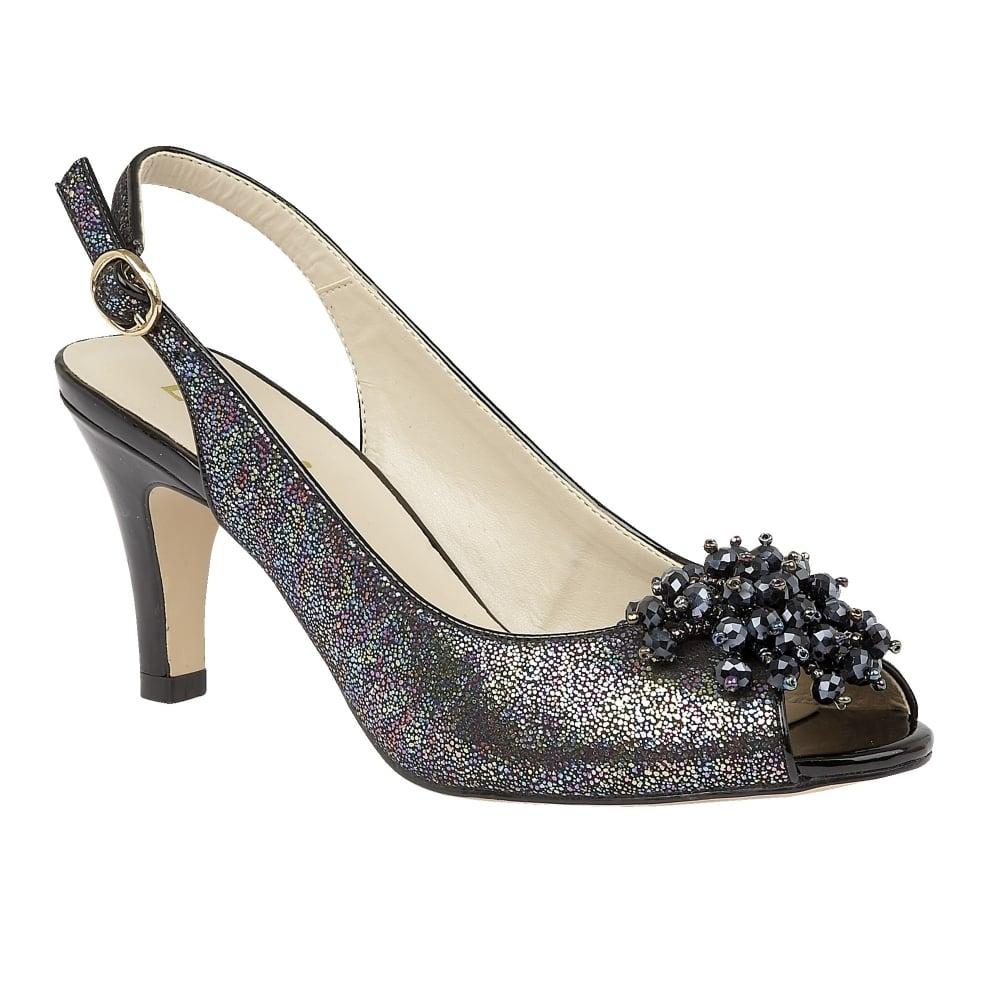 lotus clematis black metallic sling back court shoes