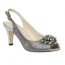 Clematis Pewter Metallic Sling-Back Court Shoes