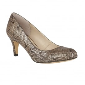 Colombina Bronze Snake Print Court Shoes