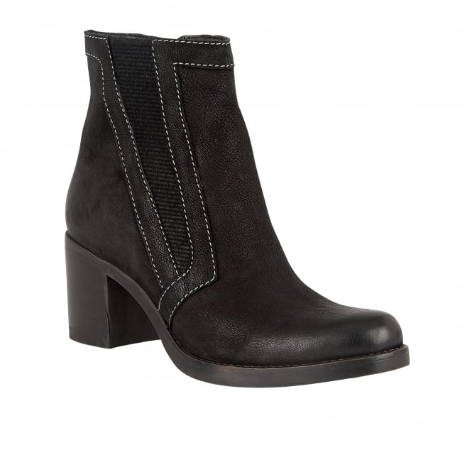 Lotus Crimson Black Nubuck Heeled Boots
