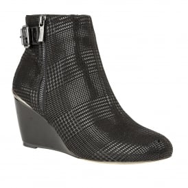 Dalice Black Wedge Zip-Up Ankle Boots