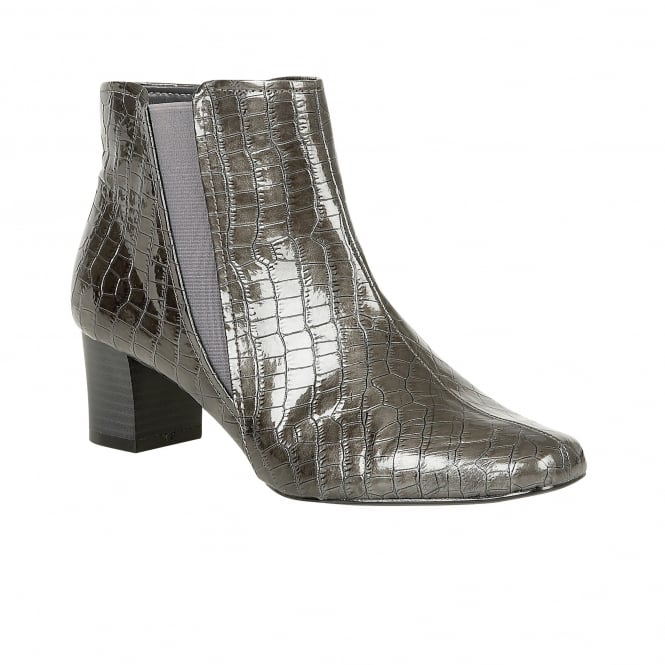 Lotus Damask Graphite Shiny Croc-Print Heeled Ankle Boots