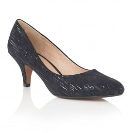Dandelion Navy Print Leather Court Shoes