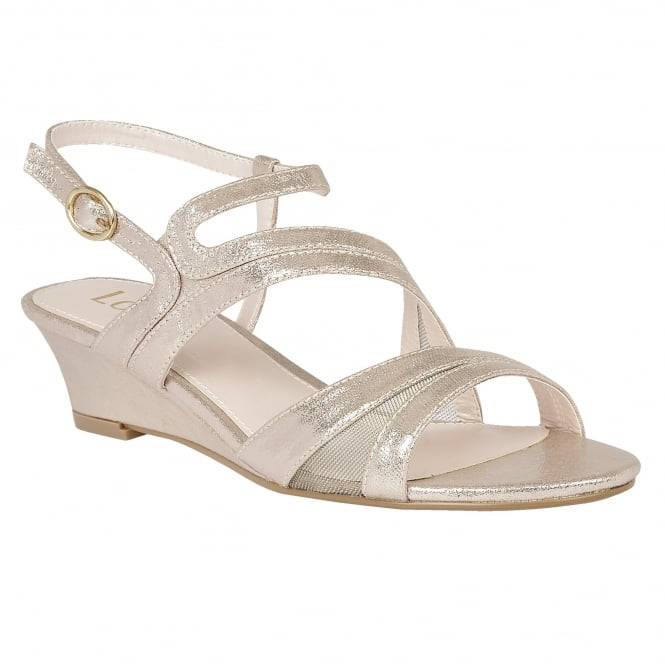 Lotus Desponia Light Gold Shimmer Strappy Sandals