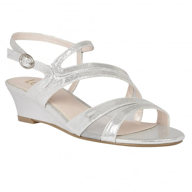 Lotus Desponia Silver Shimmer Strappy Sandals