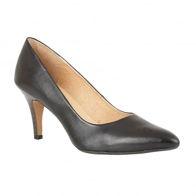 Lotus Drama Black Leather Pointed-Toe Court Shoes