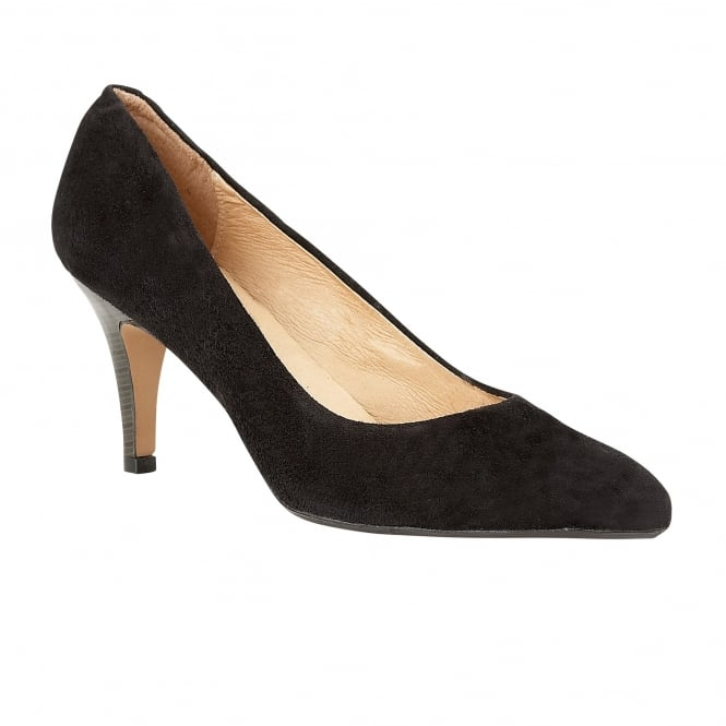 Lotus Drama Black Suede Pointed-Toe Court Shoes