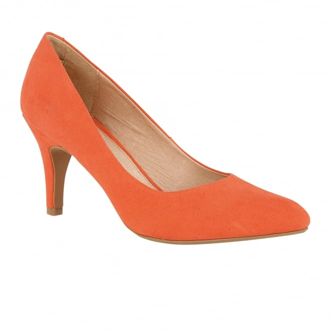 Lotus Dulcie Orange Microfibre Pointed-Toe Court Shoes