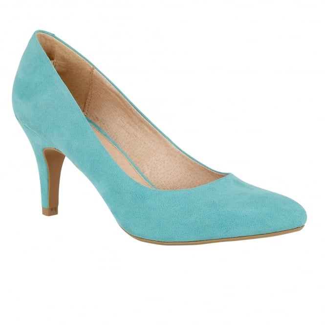 Lotus Dulcie Turquoise Microfibre Pointed-Toe Court Shoes