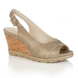 Elaine Gold Sling-Back Wedge Sandals