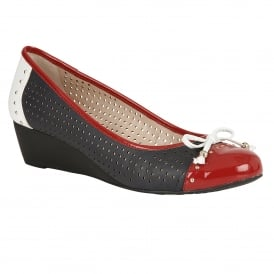 Elizabeth Perforated Navy Multi-Leather Wedge Ballet Pumps