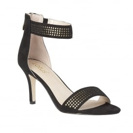 Elmas Black Microfibre & Gold Ankle Strap Shoes