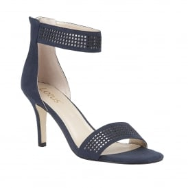 Elmas Navy Microfibre & Pewter Ankle Strap Shoes