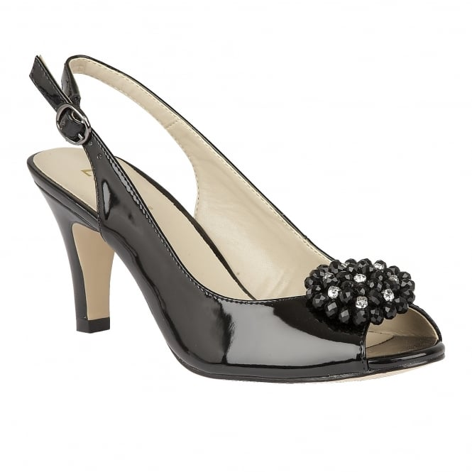 Lotus Elodie Black Shiny Sling-Back Court Shoes