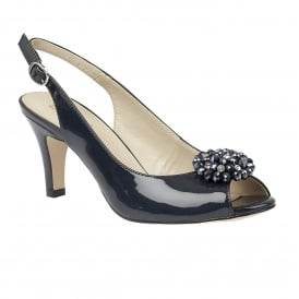 Elodie Navy Shiny Sling-Back Court Shoes