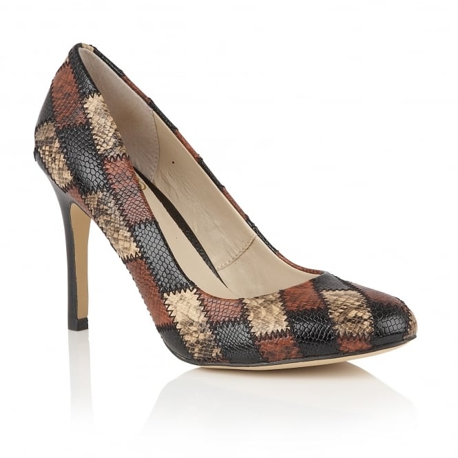 Lotus Ette Brown Multi Snake Print Court Shoes
