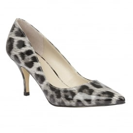 Eugenio Grey Leopard Shiny Court Shoes
