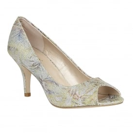 Ficarro Silver Textile Print Peep-Toe Court Shoes