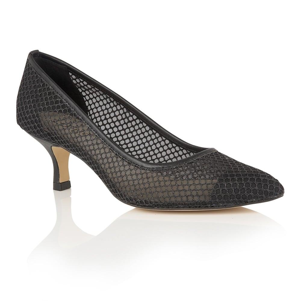 lotus floramaria black glitter mesh court shoes shoes