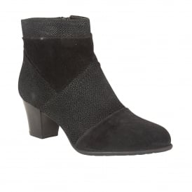 Founex Black Leather & Print Heeled Boots