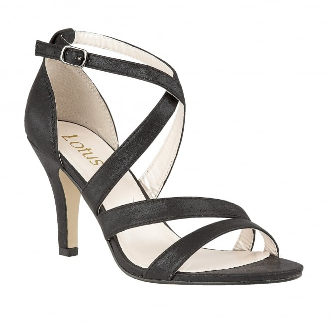 Lotus Gabby Black Shimmer Strappy Sandals