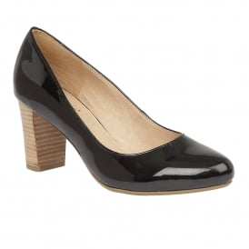 Gaize Black Shiny Block-Heel Court Shoes