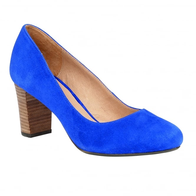 Lotus Gaize Cobalt Blue Microfibre Block-Heel Court Shoes