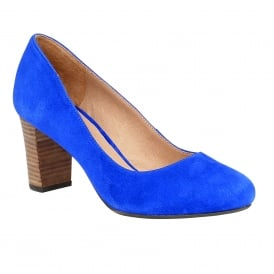 Gaize Cobalt Blue Microfibre Block-Heel Court Shoes