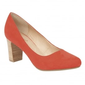 Gaize Coral Microfibre Block-Heel Court Shoes