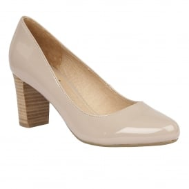 Gaize Nude Shiny Block-Heel Court Shoes