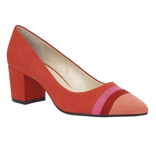 Lotus Gamma Red-Multi Microfibre Pointed-Toe Court Shoes