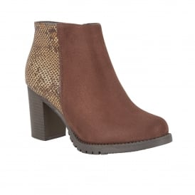 Gemini Brown Microfibre & Snake Print Ankle Boots