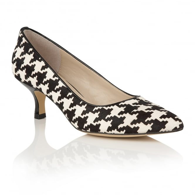 Lotus Ginny Black & White Leather Court Shoes