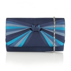 Charisty Blue Multi Satin Clutch Bag