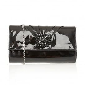 Cristaler Black Patent Leather Beaded Clutch Bag