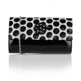 Cristaler Black & White Sequins Beaded Clutch Bag