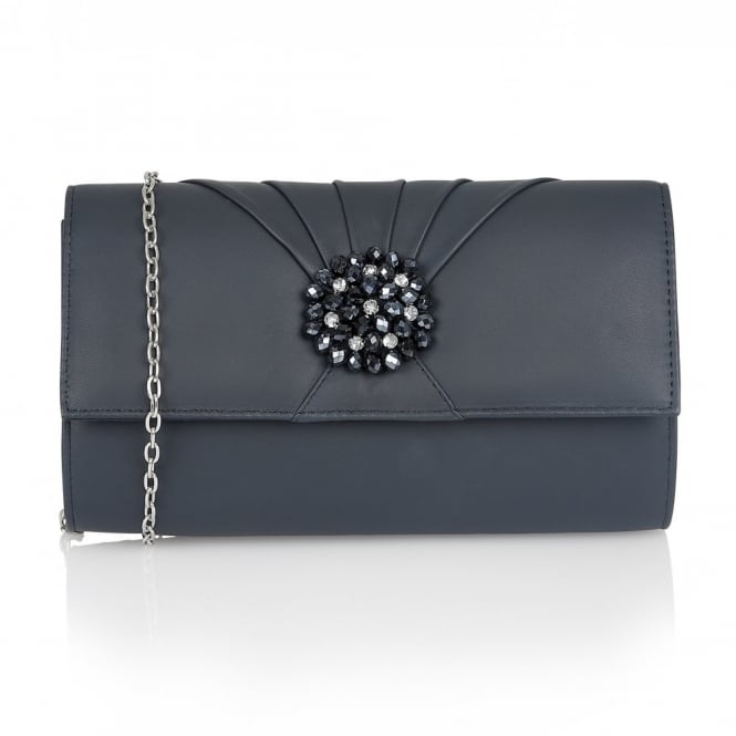 Lotus Hallmark Cristaler Navy Leather Beaded Clutch Bag