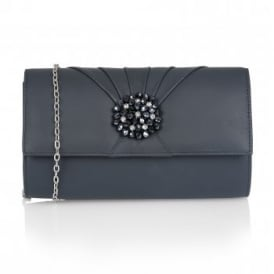 Cristaler Navy Leather Beaded Clutch Bag