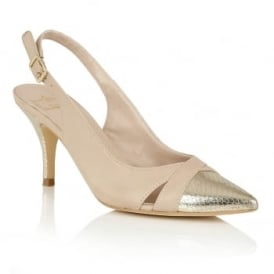 Ewelina Beige & Gold Sling-Back Leather Court Shoes