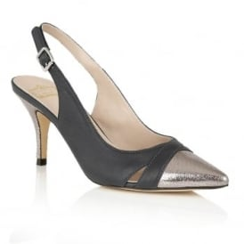Ewelina Navy & Silver Sling-Back Leather Court Shoes