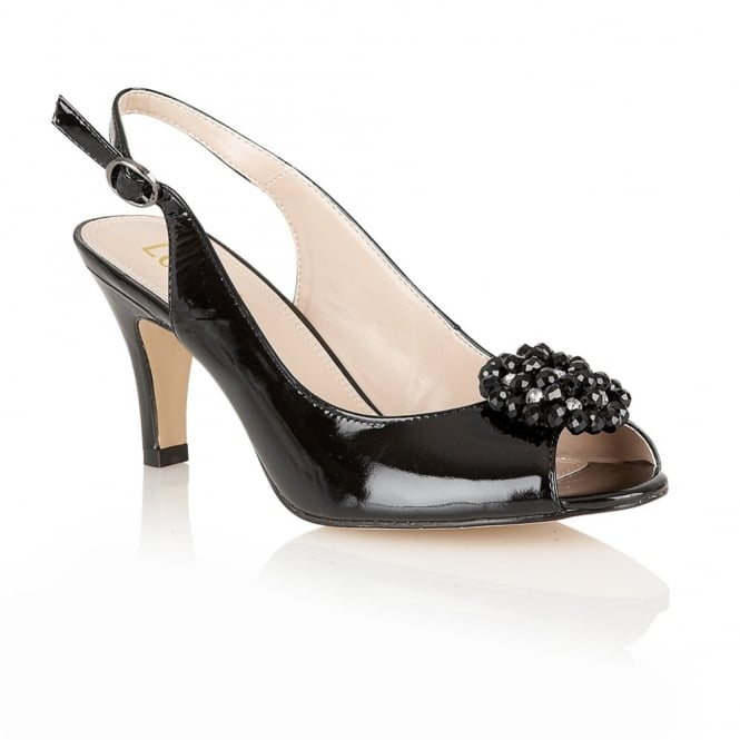 Lotus Hallmark Fascination Black Patent Leather Open-Toe Sling-Back Shoes