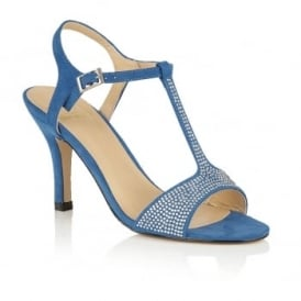 Fenella Blue Microfibre T-Bar Sandals