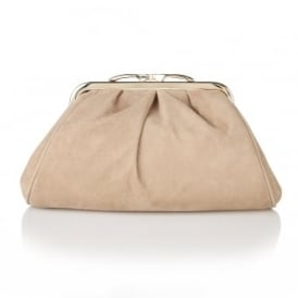 Halle Beige Suede Clutch Bag