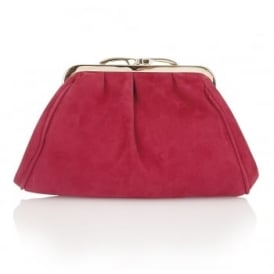 Halle Fuchsia Suede Clutch Bag