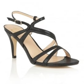 Hendrix Black Shimmer Open-Toe Strappy Sandals